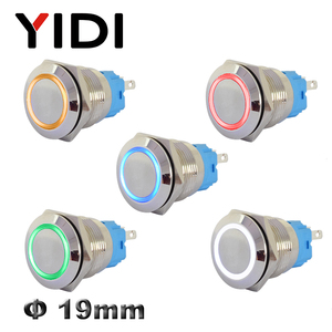 19mm Metal Push Button Switch Stainless Steel Brass Switch Latching 12V 220V Red Green LED Switch Pushbutton Momentary on Off