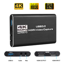 4K HDMI a USB 3,0 Tarjeta de captura de vídeo Dongle 1080P 60fps HD grabador de Video grabador para captura de juegos OBS Tarjeta de captura en vivo
