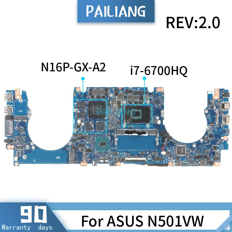 For ASUS N501VW REV:2.0 <font><b>SR2FQ</b></font> <font><b>i7</b></font>-<font><b>6700HQ</b></font> N16P-GX-A2 Mainboard Laptop motherboard DDR4 tested OK image