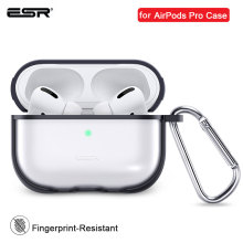 ESR for AirPods Pro Case with Keychain Hook Up Protective Cover For AirPods 3 Case Clear Transparent Earphone Funda Luxury Black