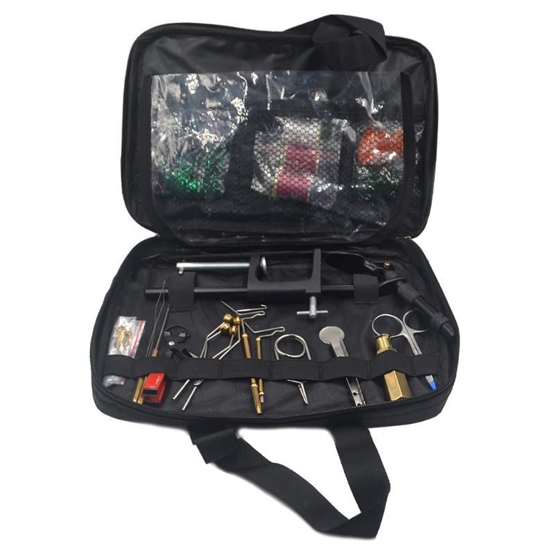 Fly Fishing Tying Tools Kit In Skin Imitated Bag Including Vise Bobbin Holder Whip Finisher Half Hitch Tool Whosale&Dropship