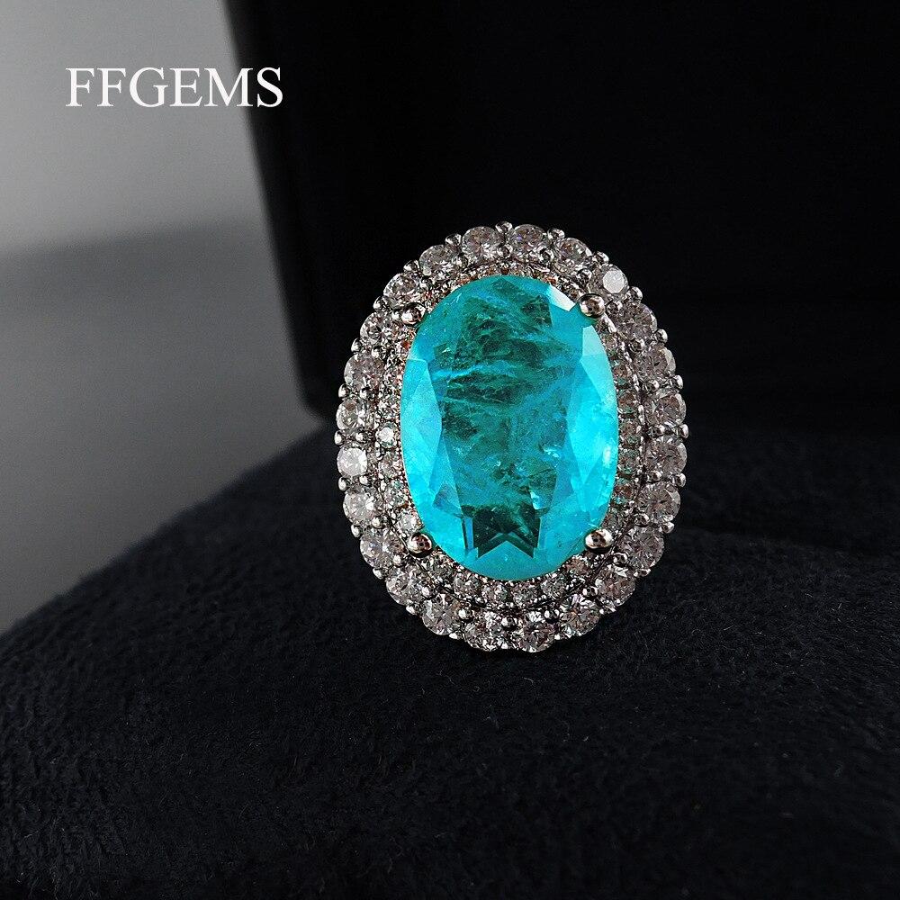 FFGems Vintage Silver create Paraiba Tourmaline Gemstone Wedding Diamonds big oval Rings for women Gift Fine Jewelry Wholesale
