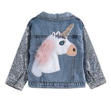 Jednorożec kurtka dżinsowa dla dziewczynek płaszcze odzież dziecięca jesień dziewczynek odzież wierzchnia kurtki dżinsowe i płaszcze dla dziewczynek tanie tanio Moda COTTON Poliester NYLON Cartoon REGULAR Skręcić w dół kołnierz Pełna Pasuje prawda na wymiar weź swój normalny rozmiar