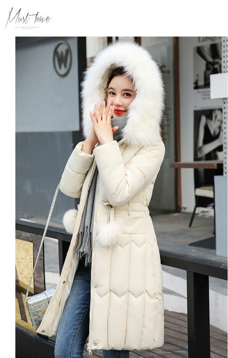 Plus size winter coat women padded cotton hooded women long jacket outwear slim white warm vintage female parka new 2019 DR1195 (18)