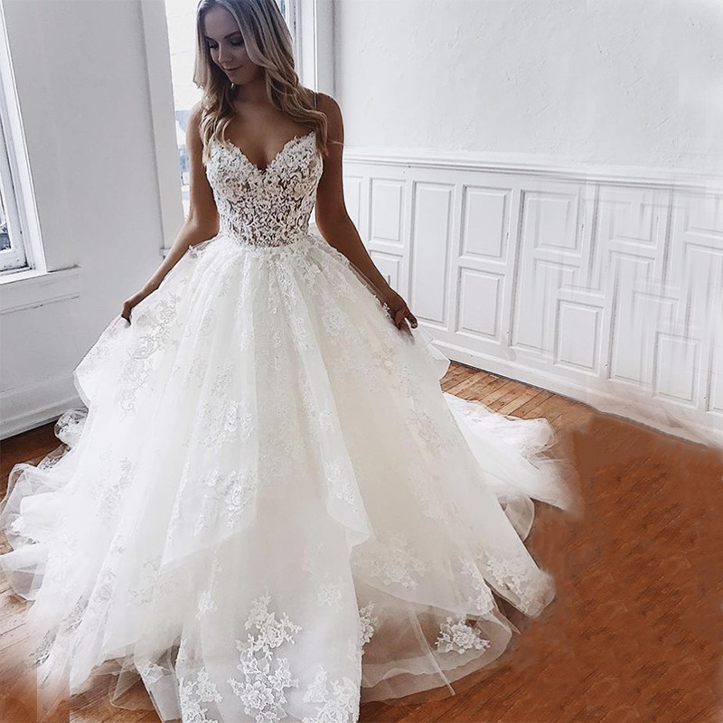 Custom Made White Ivory Bridal Gowns V Neck Ball Gowns Wedding Dresses Lace Appliques Spaghetti Straps Vestido De Novia 2020