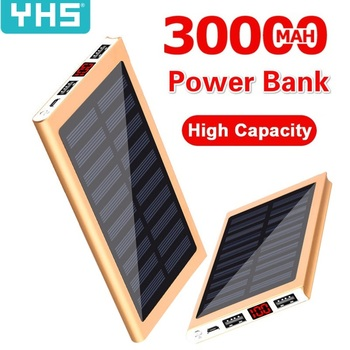 Solar Power Bank External Battery 2 USB LED 30000mah Powerbank Portable Mobile phone Solar Charger for Xiaomi mi iphone XS 8plus