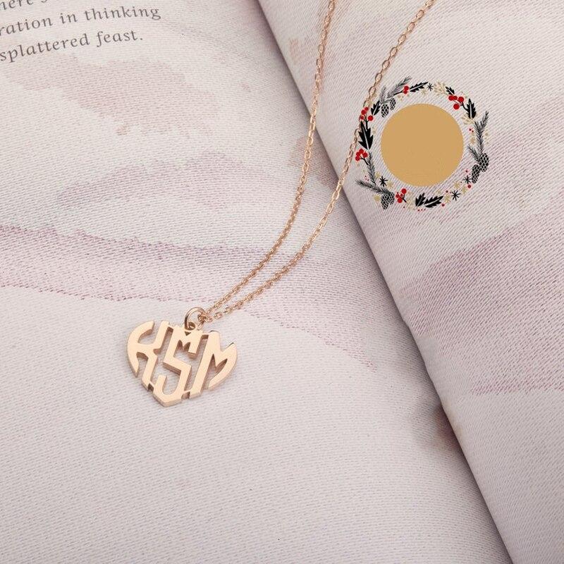 Custom Heart Monogram Necklace- Heart Shape Monogram Necklace