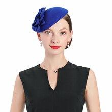 цена на Fascinator Wedding Wool Hats For Women Elegant Blue Flower Cupid Pillbox Hat Vintage Cocktail Lady Church Fedoras Prom Party Hat