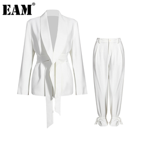 [EAM] Wide Leg Pants Big Size Bandage Two Piece Suit New Lapel Long Sleeve Loose Fit Women Fashion Spring Autumn 2020 1DA241