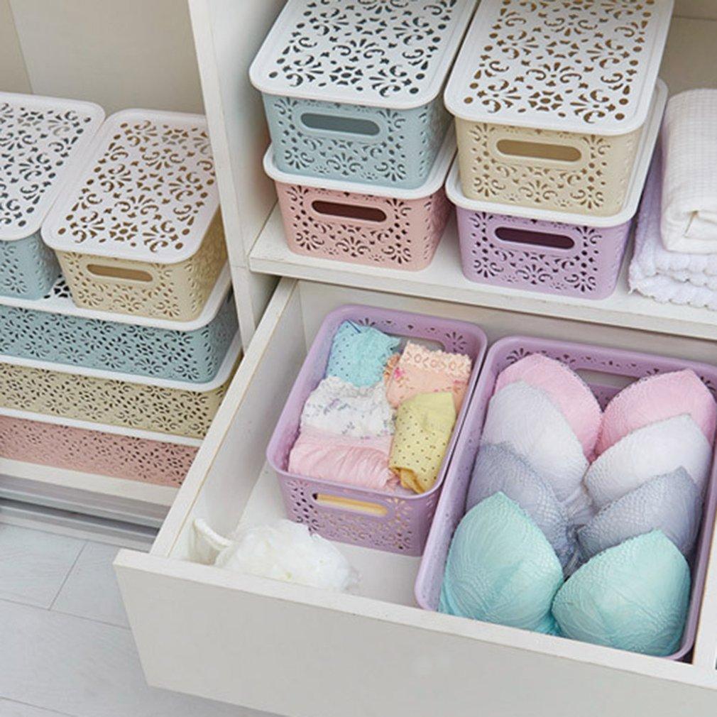 Kitchen Organizer Clothes Toys Storage Container Creative Plastic Desktop Hollow Storage Basket Underwear Storage Box
