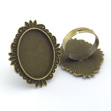 18*25mm 5pcs Ring Setting Antique Bronze Plated Adjustable Oval Glass Cabochon Blank Base Supplies for Jewelry F103
