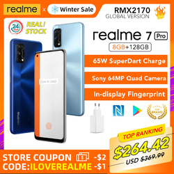 realme 7 Pro 8GB RAM 128GB ROM Global Version 65W SuperDart Charge 64MP Camera AMOLED In-display Fingerprint