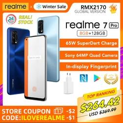 Realme 7 pro 8gb ram 128gb rom versão global 65w superdart carga 64mp câmera amoled in-display impressão digital