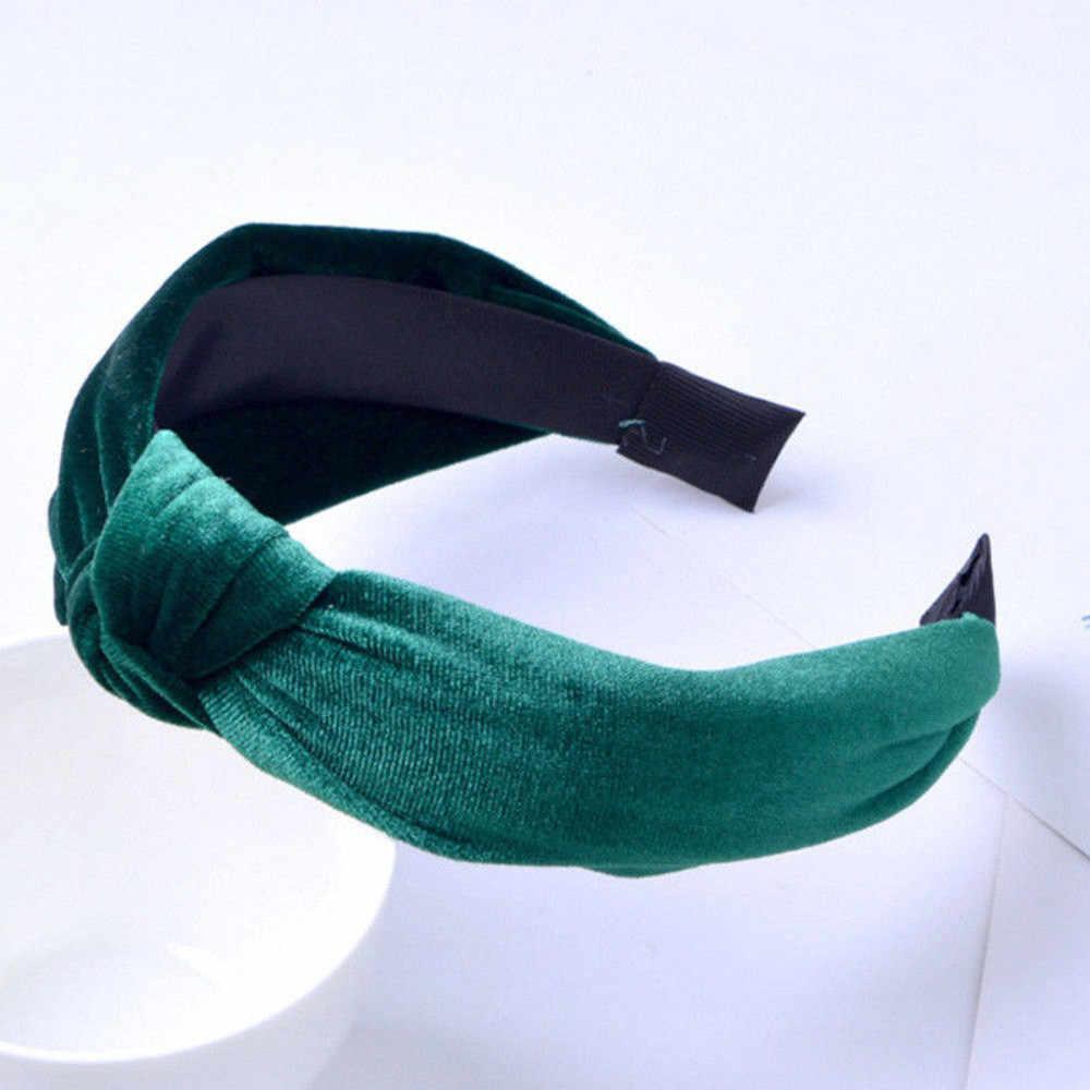 Повязка на голову, повязка на голову, широкая сторона, бархат, сплошной цвет, экзотическая лента для волос, аксессуары для волос, femme diademas para el pelo mujer 2019