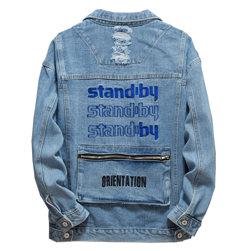 Sokotoo Men's Letters Embroidery Holes Ripped Jean Jacket Light Blue Big Pocket Spliced Denim Coat Fashion Outerwear