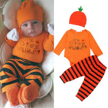 0-2 Years Newborn Baby Boy Clothing Orange Tops With Letters Black And Trousers A Hat