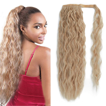 Afro Long Curly Wavy Ponytail Synthetic  Hair Extension For Women Natural Hairpiece Wrap on Clip elegant long synthetic stylish long shaggy curly clip in hair extension for women