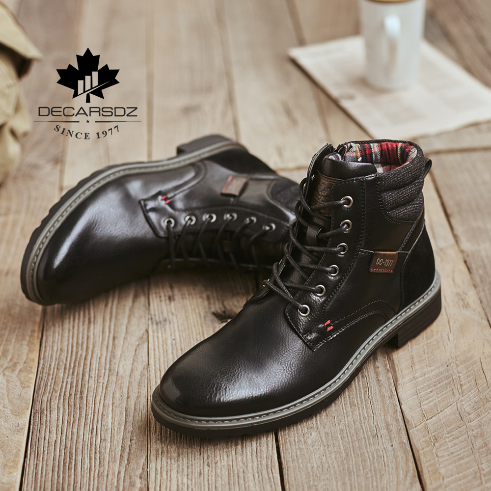 DECARSDZ Men Boots Comfy Lace-up High Quality Leather Men's Boots 2020 Autumn Fashion Shoes Man Durable outsole Men Casual Boots 3