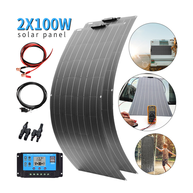 2x <font><b>100W</b></font> 18V Flexible <font><b>solar</b></font> <font><b>panel</b></font> kit Monocrystalline <font><b>solar</b></font> <font><b>12V</b></font> battery charger for car RV home outdoor Power system charging image