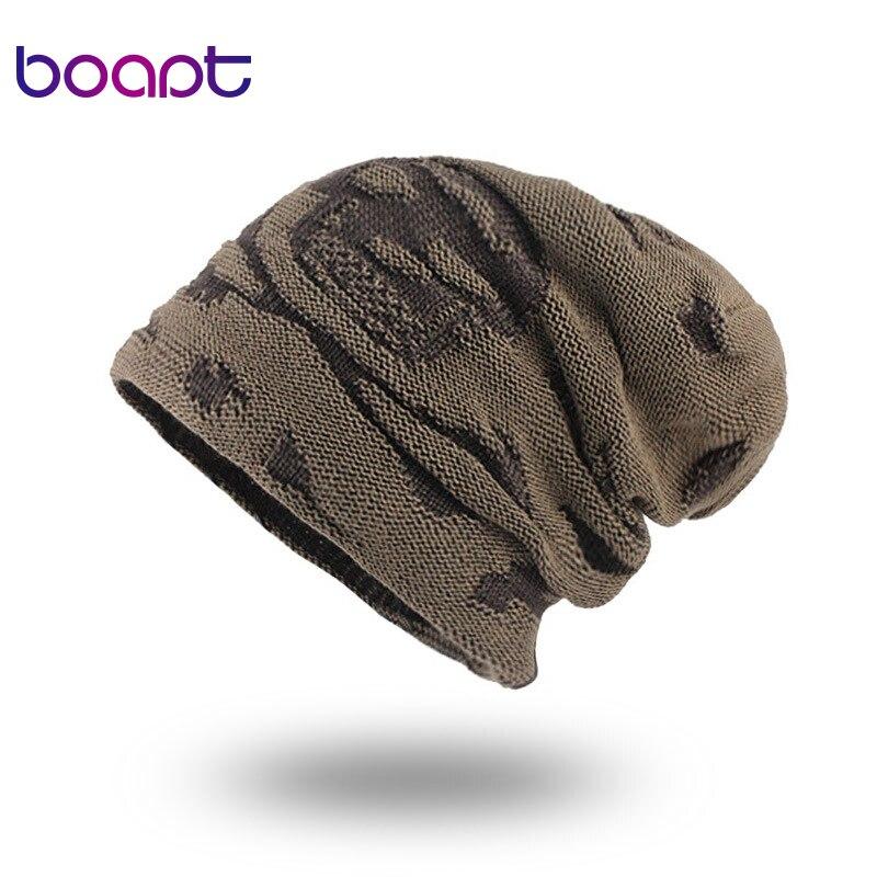 Men Winter Knitted Wool Hats For Women Beanies Skullies Cap Warmer Outdoor Ski Beanie Skull Caps Hat Casual Black Skull Bonnet