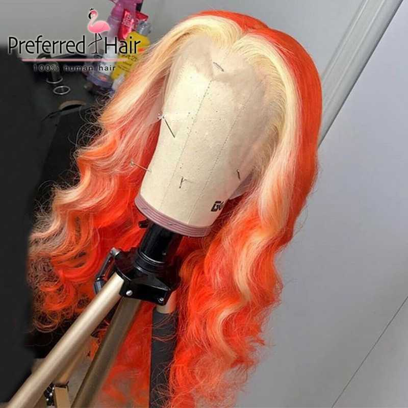 Preferred 13x4 Preplucked Ombre Lace Front Wig Brazilian Wavy Lace Front Wig Remy Lace Front Human Hair Wigs For Black Women