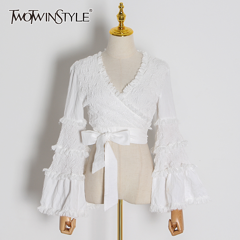 TWOTWINSTYLE Patchwork Lace Women Shirt V Neck Flare Long Sleeve Tunic Short Lace Up Bow Blouse For Female Fashion Clothing Tide