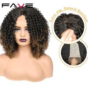 Image 1 - Fave Kinky Krullend Lace Pruiken Zwart Bruin Ombre Midden Deel Schouder Lengte Synthetisch Haar Hittebestendige Vezel Voor Zwarte Vrouwen