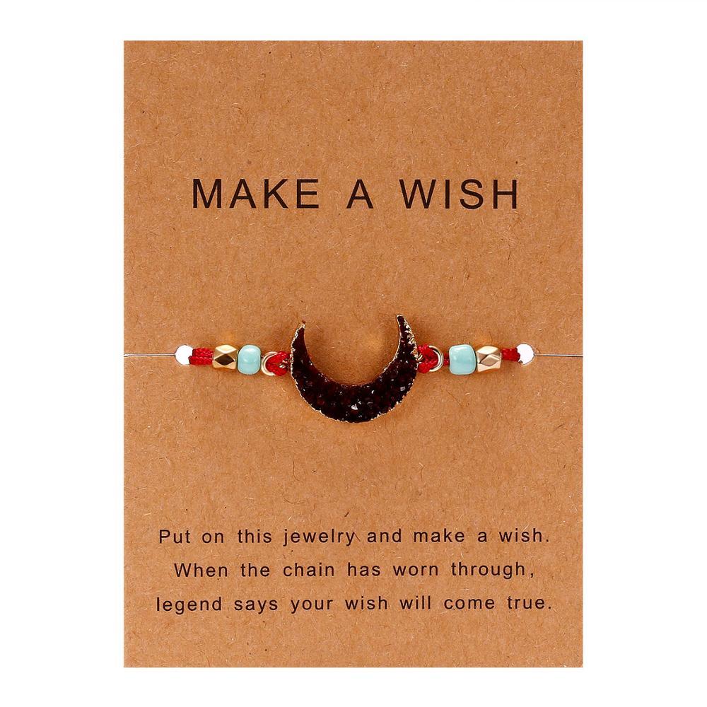 Rinhoo 1 шт. ручной работы сделать пожелание картон красочные Луна Форма из смолы плетеный браслет для женщин модные ювелирные изделия подарок - Окраска металла: BR18Y0723-6