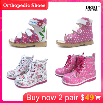 Ortoluckland Girls fashion leather sandals orthopedic shoes for children hot discount sale flower design flatfoot footwear shoes