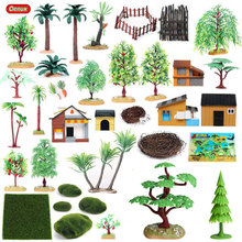 Oenux Home Decoration Accessory Tree Farm House Model Layout Garden Landscape Scenery Miniature Farm Animals Action Figures Toys