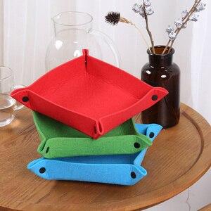 Image 5 - 折りたたみ収納ボックス Pu レザースクエアトレイサイコロテーブルゲームキー財布コインボックストレイデスクトップ収納ボックストレイ装飾