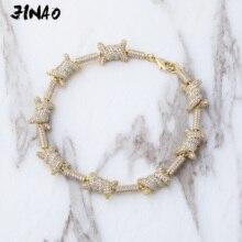 Biżuteria JinAo Hip Hop rozłożony wzór długość x węzeł złoty kolor srebrny Prong ustawienie AAA sześcienne cyrkon 6 razy poszycia bransoletka
