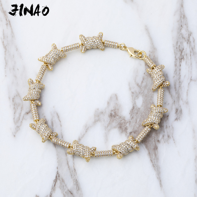 JinAo Hip Hop Jewelry staggered Pattern length x knot  Gold Silver color Prong  Setting AAA Cubic Zircon 6times plating Bracelet