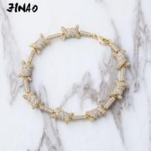 JinAo היפ הופ תכשיטי מעד דפוס אורך x קשר זהב כסף צבע חודים הגדרת AAA מעוקב זירקון 6 פעמים ציפוי צמיד
