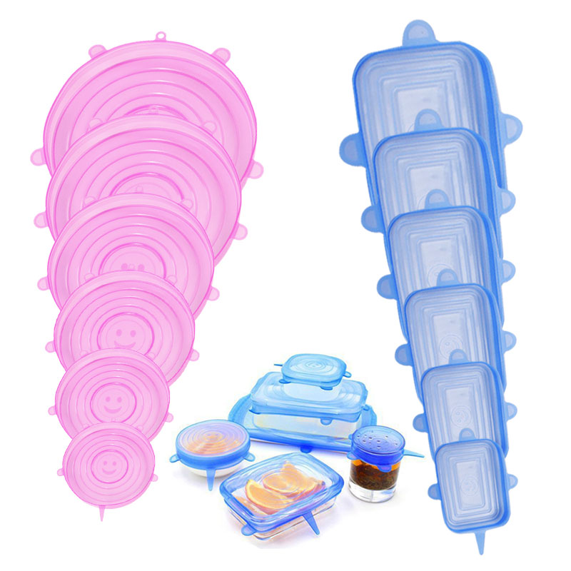 6Pcs Silicone Food Cap Reusable Food Cover Fresh Keeping Saran Wrap Bowl Pot Seal Vacuum Cover Stretch Lid Kitchen Storage Tools