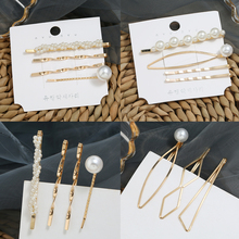 HOCOLE Imitation Pearl Hair Clips For Women Fashion Gold Metal Hairpins Female 2019 Korean Hairwear Jewelry Accessories