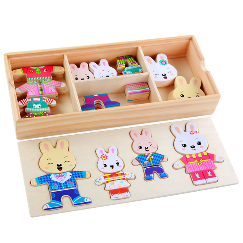 72pcs Cartoon Rabbit Bear Dress Changing Jigsaw Puzzle Wooden Toy Montessori Educational Change Clothes Toys For Children 5