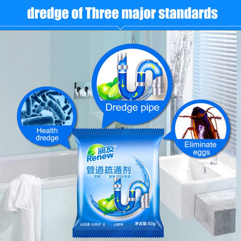 50g/bag Powerful Sink Drain Cleaners Pipe Dredging Agent Kitchen Toilet And Sewer Blocking Clean Deodorant Dredge Cleaning Tools
