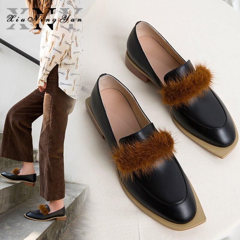 XIUNINGYAN noir en cuir véritable automne hiver chaussures femmes sans lacet plate-forme femmes loisirs rue Style mocassins chaussures dames chaussures
