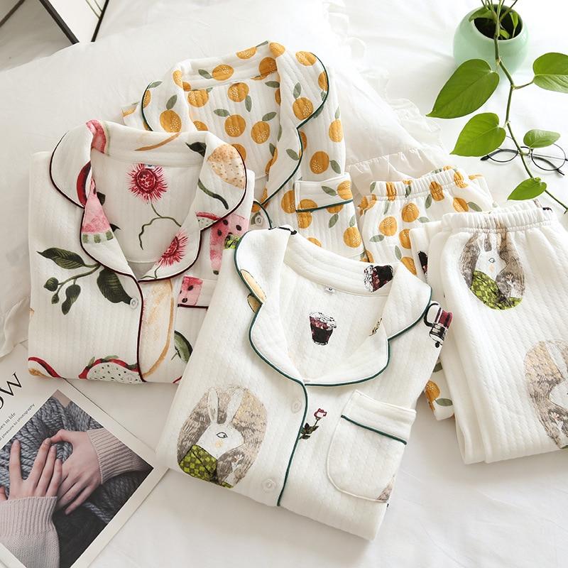 Thicken Quilted 100% cotton scuba sleepwear women pajamas sets winter keep warm long-sleeved Japanese sweet women pyjamas