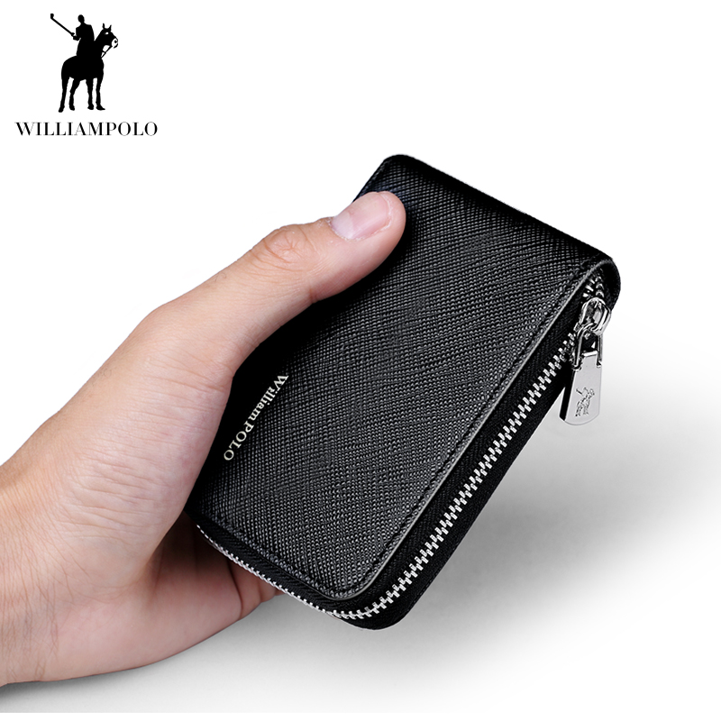 WILLIAMPOLO Zipper Wallet Credit-Card Card-Holder Men PL185143 title=