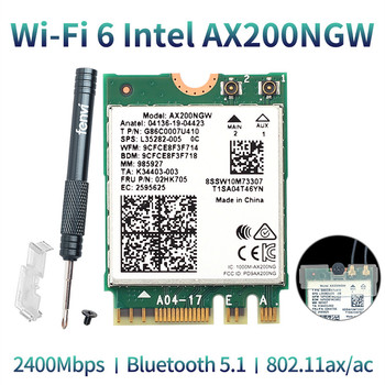 Wireless Dual Band 2400Mbps WiFi 6 For Intel AX200 NGFF M.2 Bluetooth 5.1 Wifi Card AX200NGW Wifi6 Adapter 2.4G/5Ghz 802.11ac/ax