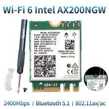 لاسلكي ثنائي النطاق 2400Mbps واي فاي 6 إنتل AX200 NGFF M.2 بلوتوث 5.1 بطاقة واي فاي AX200NGW Wifi6 محول 2.4G/5Ghz 802.11ac/ax