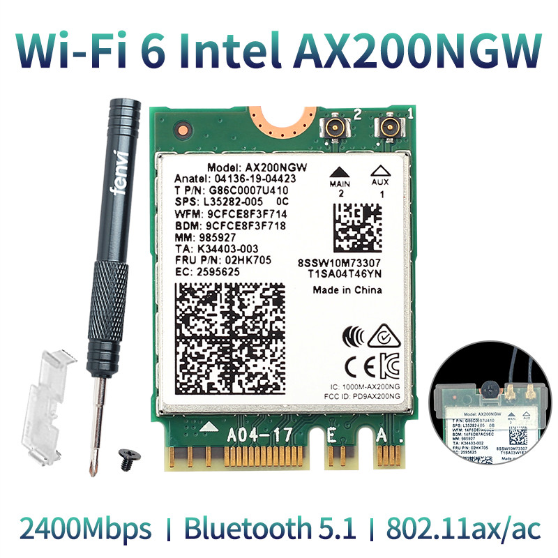 Wireless Dual Band 2400Mbps WiFi 6 For Intel AX200 NGFF M.2 Bluetooth 5.1 Wifi Card AX200NGW Wifi6 Adapter 2.4G/5Ghz 802.11ac/ax(China)