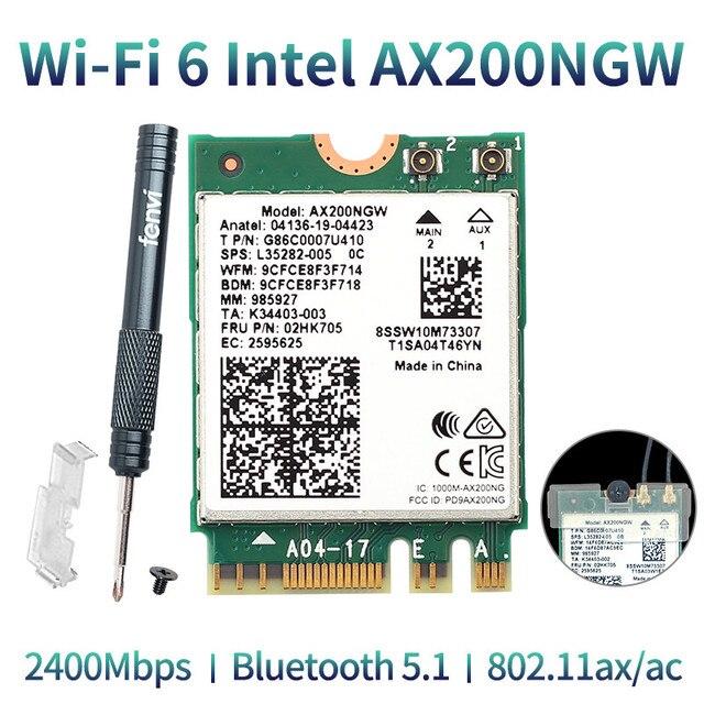 Wireless Dual Band 2400Mbps WiFi 6 Per Intel AX200 NGFF M.2 Bluetooth 5.1 Scheda Wifi AX200NGW Wifi6 Adattatore 2.4G/5Ghz 802.11ac/ax