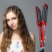 Triple Barrel LCD Digital Hair Curler Ceramic Curling Iron Hair