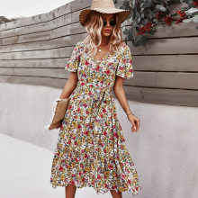 Ladies Vintage Maxi Floral Print Summer Dress Women Bohemian Slim Casual High Waist Bandage Women Beach Dress Female Vestidos