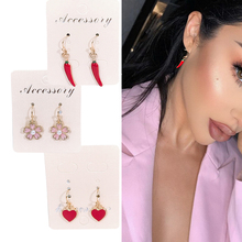 2019 Korean Earrings Colorful Gold Cartoon Animal Fruit Earring Cute Pineapple Flower Shell Red Heart For Girl Women