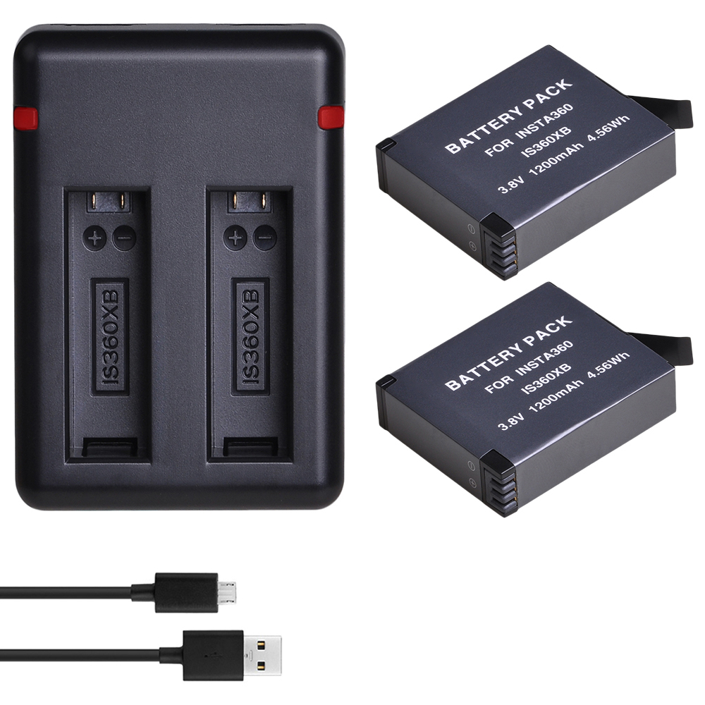 DuraPro 2 X 1200mAh IS360XB Battery For Insta360 Sport Action Camera + Dual USB Charger With Type C And USB Port