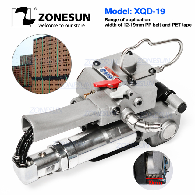 Zonesun Handheld XQD 19 Pneumatische Draagbare Strapping Tool Pp Huisdier Pallet Riem Band Spanner En Sealer Doos Karton Machine
